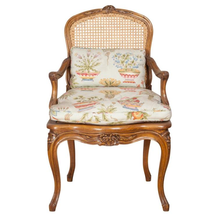 Louis Xv Style Caned Fruitwood Fauteuil