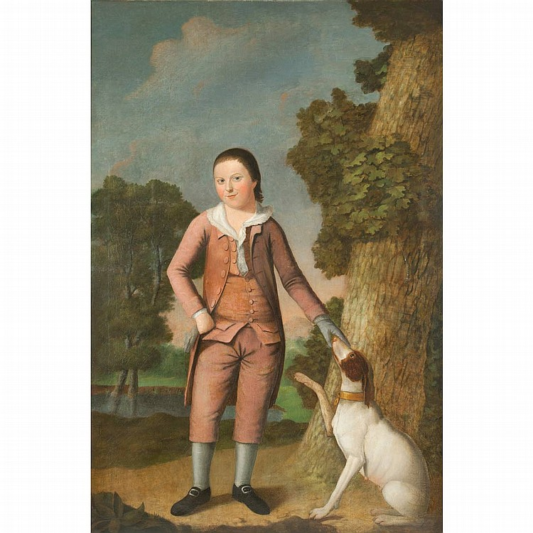 English School 18th Century Boy and His Dog