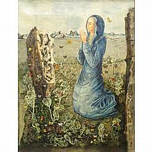 Kelly Fearing American, 1918-2011 Saint Rose of Lima and the Butterflies   Signed Fearing (lr); inscribed as...