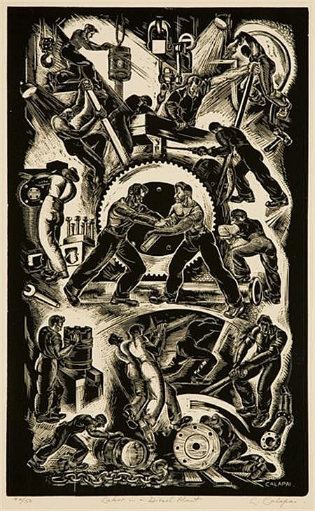Letterio Calapai LABOR IN A DIESEL PLANT Wood engraving