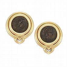 Pair of Gold and Ancient Coin Earclips, Bulgari