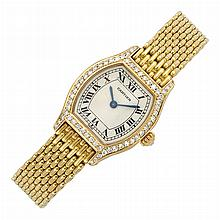 Lady's Gold and Diamond 'Tortue' Wristwatch, Cartier, Paris