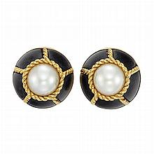 Pair of Gold, Mabe Pearl and Wood Earclips, Seaman Schepps