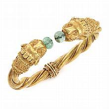 Gold and Emerald Bead Animal Head Bangle Bracelet, Zolotas
