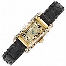 Gold and Diamond 'Mini-Tank' Wristwatch, Cartier, Paris