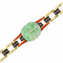 Gold, Carved Jade, Enamel and Diamond Bracelet, Cartier, France