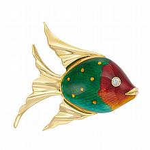 Gold, Enamel and Diamond Fish Brooch, by Marvin Schluger