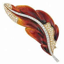 Gold, Enamel and Diamond Leaf Brooch, by Marvin Schluger
