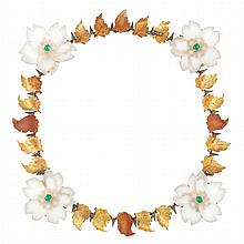 Two-Color Gold, Silver, Carved Carnelian, Frosted Rock Crystal and Emerald Necklace, Buccellati