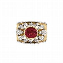 Two-Color Gold, Ruby and Diamond Ring, Mario Buccellati