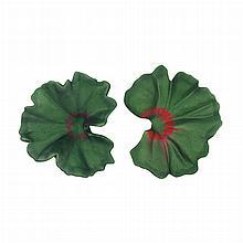 Pair of Green and Red and Purple Aluminum Geranium Earclips, JAR, Paris