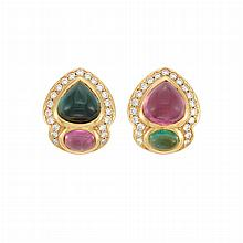 Pair of Gold, Cabochon Pink Tourmaline, Tourmaline and Diamond Earclips, by Marvin Schluger