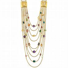 Nine Strand Gold and Multicolored Stone Swag Snake Chain Necklace, Gucci