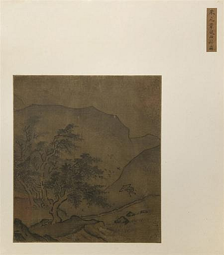 After Mi Fu (1051-1107) 18th Century Figure running to the cover of trees beneath an umbrella