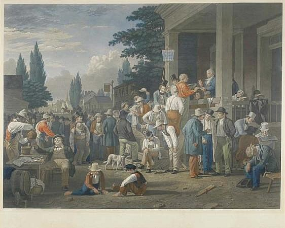 After George Caleb Bingham THE COUNTY ELECTION  Hand-colored engraving, mezzotint and roulette