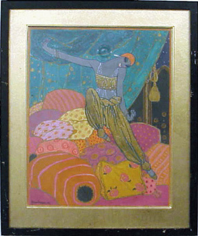 Georges Lepape French 1887-1971 PORTRAIT OF NIJINSKY IN SCHEHERAZADE
