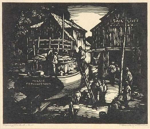 Donald Witherstine BRINGING IN THE NETS; MESSENGERS OF THE SEA; THE OLD WHARF; REPAIRING THE BOAT; THE SEINERS Woodcuts (5)