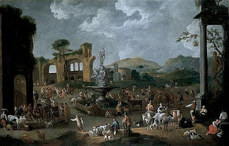 Peeter van Bredael Flemish, 1629-1719 A Market In Italy
