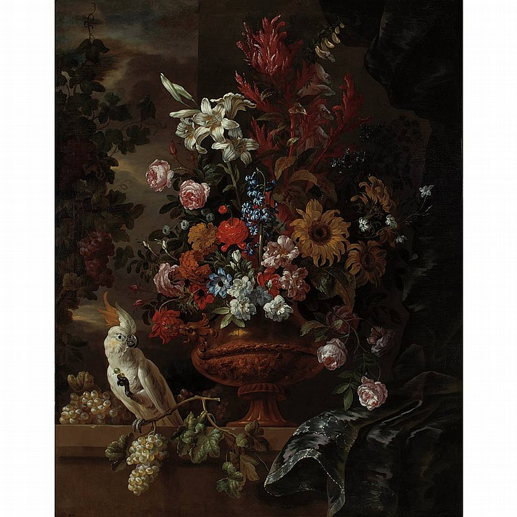 Jean-Baptiste Monnoyer French, 1636-1699 Still Life of Flowers in a Vase on a Ledge, with a White Cockatoo