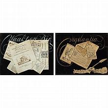 Dutch School 18th Century Waakt en Bid (Watch and Pray) and Vigilantia (Vigilance): two trompe l'oeil drawings