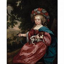 Manner of Caspar Netscher Girl in Festive Dress Holding a Spaniel