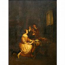 Manner of Gabriel Metsu A Woman Seated at a Table and a Man Tuning a Violin (The Music Lesson)