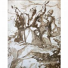 Follower of Luca Giordano  Moses Sustained by Aaron and Hur (Exodus 17:12)