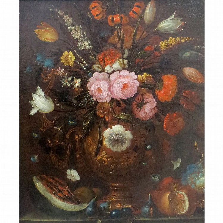 Flemish School 17th Century Still Life with Flowers and Fruit on a Ledge