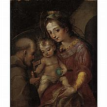 Central Italian School 17th Century Madonna and Child with St. Francis