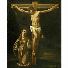 Attributed to Bernardo Castello The Crucifixion with Mary Magdalene