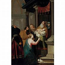 Leyden School Circa 1630 Simeon with the Christ Child   Oil on panel 33 1/4 x 27 1/2 inches (84.5 x 70 cm)...