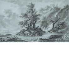 Aignan-Thomas Desfriches French, 1715-1800 River Landscape with a Cascade
