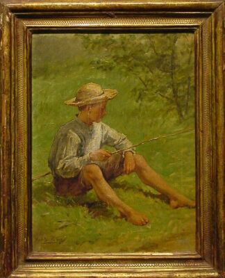 Hugh Newell 1830-1915 BOY FISHING