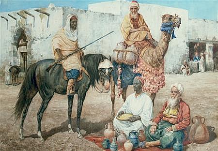 Giuseppe Gabani Italian, 1846-1900 Outside the City Walls