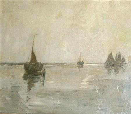 Richard Baseleer Belgian, 1867-1951 Ships in a Bay, Antwerp, 1907