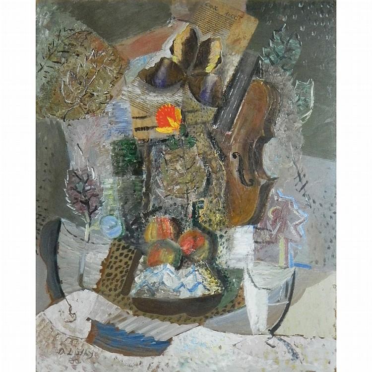 Oskar Wilhelm Luthy Swiss, 1882-1945 Still Life with Violin, 1932