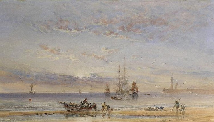 George Weatherill British, 1810-1890 FISHING BOATS OFF WHITBY
