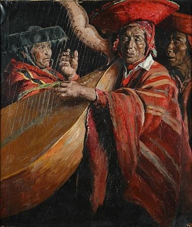 Bernardo Simonet Castro Spanish, b.1914 SOUTHWESTERN INDIAN MUSICIANS