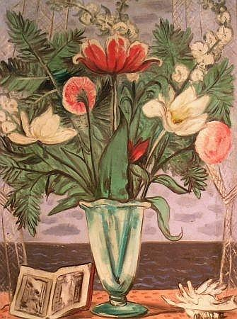 Bror Julius Olsson Nordfeldt 1878-1955 FLORAL STILL LIFE BY THE SEA, 1939