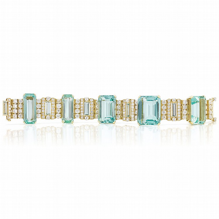Gold, Aquamarine and Diamond Bracelet