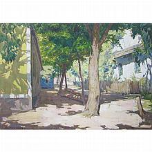 Alois Kalvoda Czech, 1875-1934 Courtyard with Sun-Cast Shadows