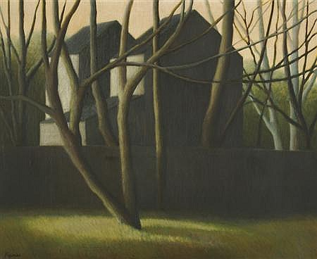 Robert Kipniss American, b. 1931 House and Trees