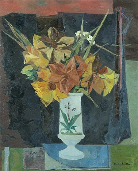 Andree Ruellan American, 1905-2006 Flowers on a Green Table