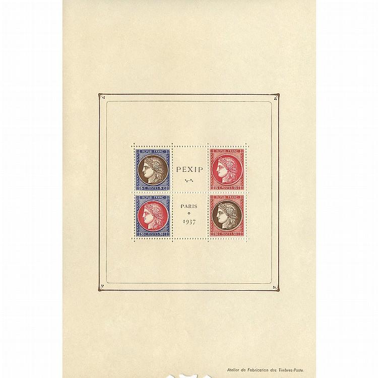 France, 1937 PEXIP Souvenir Sheet, Scott 329