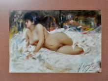 Giusto. Reclining nude. Pastel