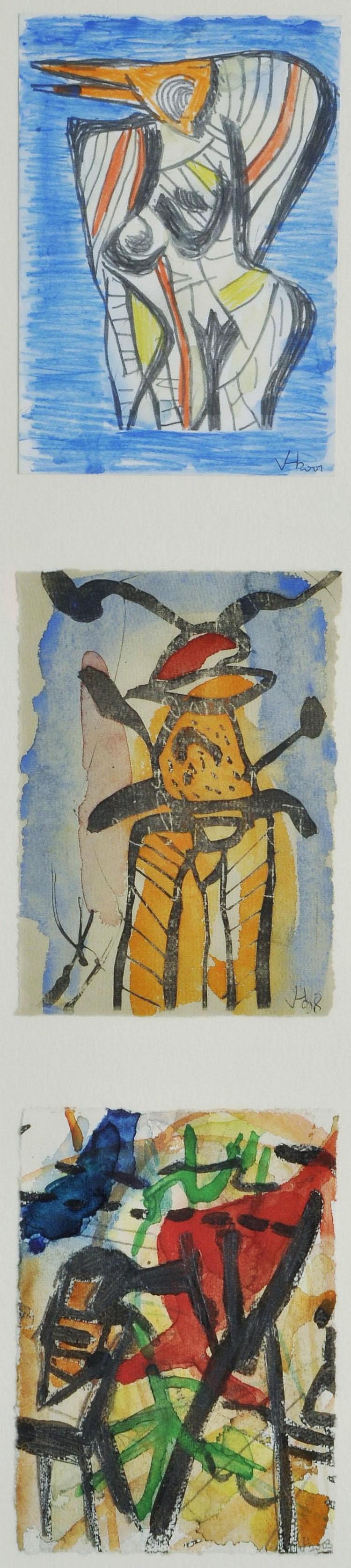 Hofmann, Veit. Geb. 1944 DresdenDrei Grafiken. Verschiedene Motive und Techniken, auf Untersatzkarton montiert, monogr. und dat. 2001, (19)98, 2003. Je ca. 14,5 x 10,4 cm. Hinter Glas gerahmt.