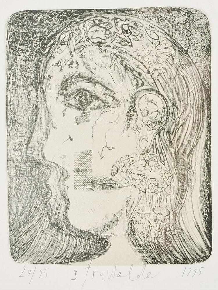Strawalde (i.e. Böttcher, Jürgen). Geb. 1931 Frankenberg/ Sa., lebt in BerlinO.T. (weiblicher Kopf). 1995. Lithographie in zwei Farben auf Bütten, sign., dat. und num. Ex. 20/ 25. 26,5 x 21 cm (St), 65 x 51 cm (Bl). Hinter Glas gerahmt.