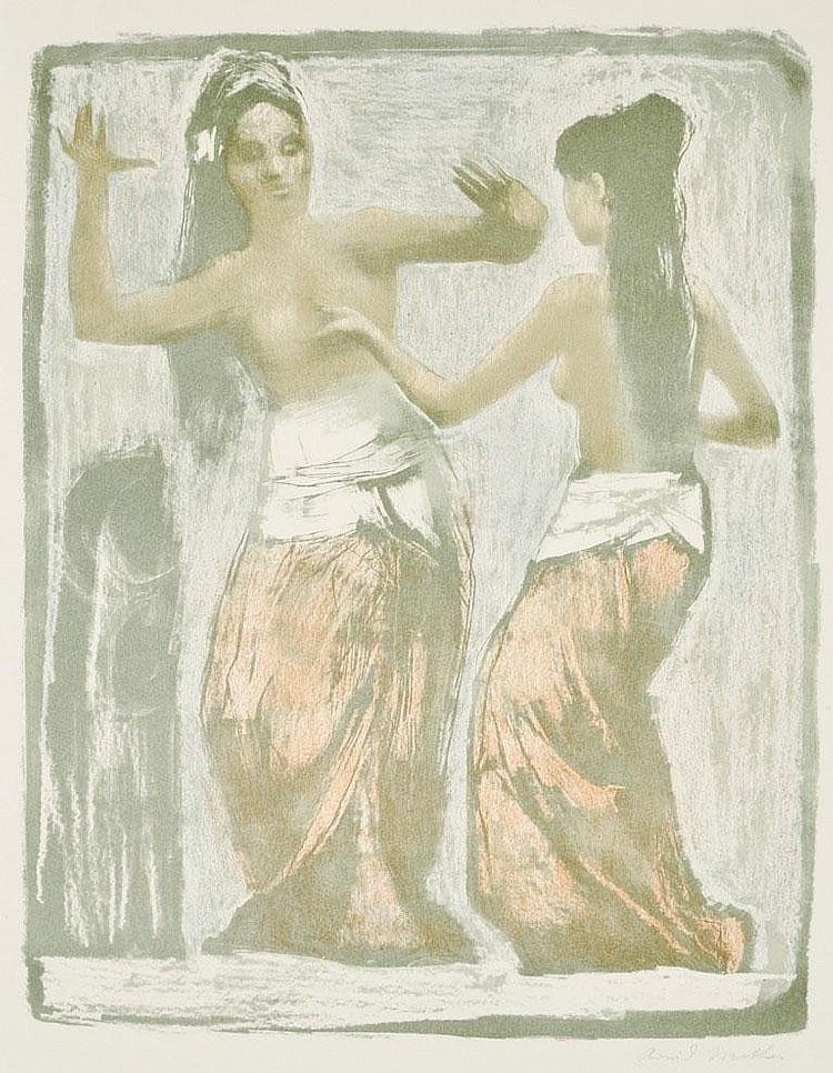 Mather, Arvid. 1905 Barmen-1955 DüsseldorfPaar Javanische Tänzerinnen. Farb(offset)lithographie, sign. Rand rückseitig umlaufend verstärkt, Lichtrand, min. gebräunt. 69 x 50,5 cm (Bl)