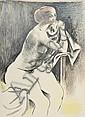 Mucchi, Gabriele. 1899 Turin - 2002 MailandSitzender weibl. Akt mit Tuch. Farblithografie.Sign. und dat. 1975. Ex. 84/120. Mit dem Prägestempel:Edition Arkade. Im Randbereich einige Knickspuren. 57 x 42 cm., Gabriele Mucchi, Click for value