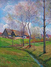 Quarck, Karl. 1869 Rudolstadt/ Thür. - 1950 DresdenFrühlingslandschaft mit Bachlauf und nahe gelegenem Dorf. Öl auf Leinwand, li. u. sign. 81 x 61 cm. Gerahmt.
